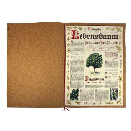 """Lebensbaum Urkunde """"Antik"""" aufgeklappt"""