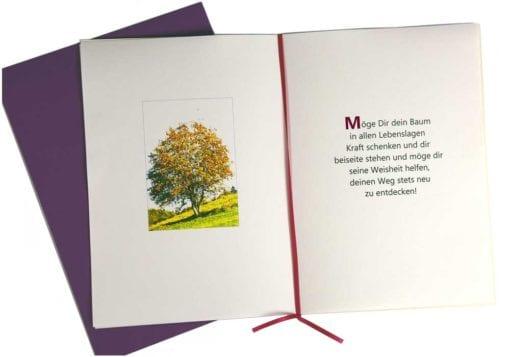 """Lebensbaum Geschenkkarte """"Mädchen"""" aufgeklappt"""