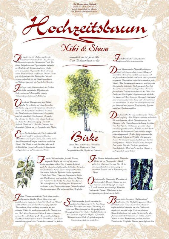 Hochzeitsbaum Urkunde Exklusive Birke