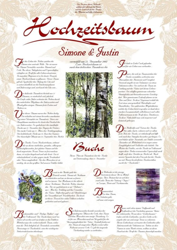 Hochzeitsbaum Urkunde Exklusive Buche Intuition