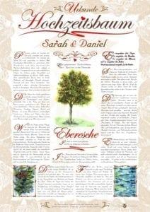 Hochzeitsbaum Urkunde Romantik Eberesche