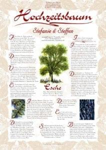 Hochzeitsbaum Urkunde Exklusive Esche zur Vermählung