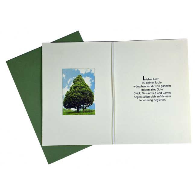 """Lebensbaum Geschenkkarte """"Modern"""" aufgeklappt"""
