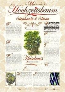 Hochzeitsbaum Urkunde Romantik Haselnuss