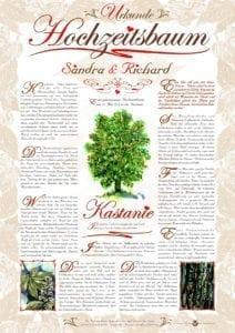 Hochzeitsbaum Urkunde Romantik Kastanie