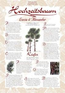 Hochzeitsbaum-Urkunde Exklusive Kiefer