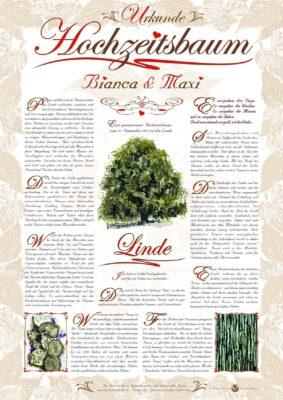 Hochzeitsbaum Urkunde Romantik Linde