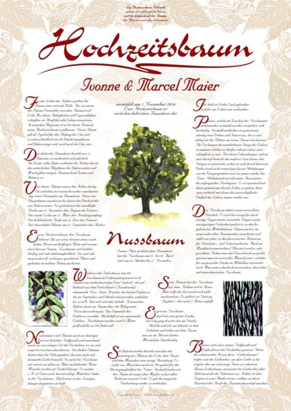 Hochzeitsbaum Urkunde Exklusiv Nussbaum