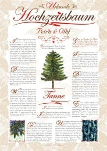 Hochzeitsbaum Urkunde Romantik Tanne