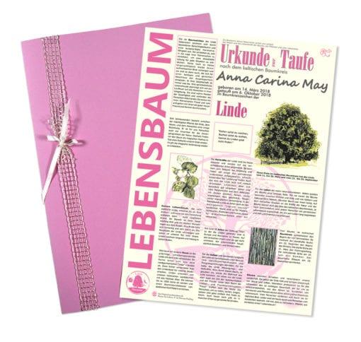 """Lebensbaum Urkunde """"Mädchen zur Taufe"""""""