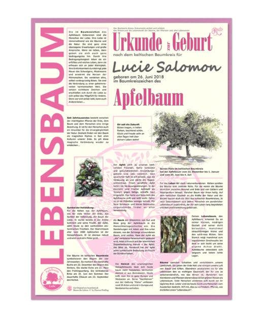 """Lebensbaum Urkunde Modern für """"Mädchen zur Geburt"""""""