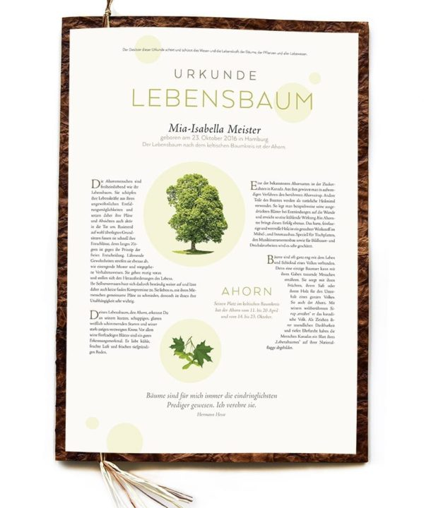 Lebensbaum Urkunde Premium