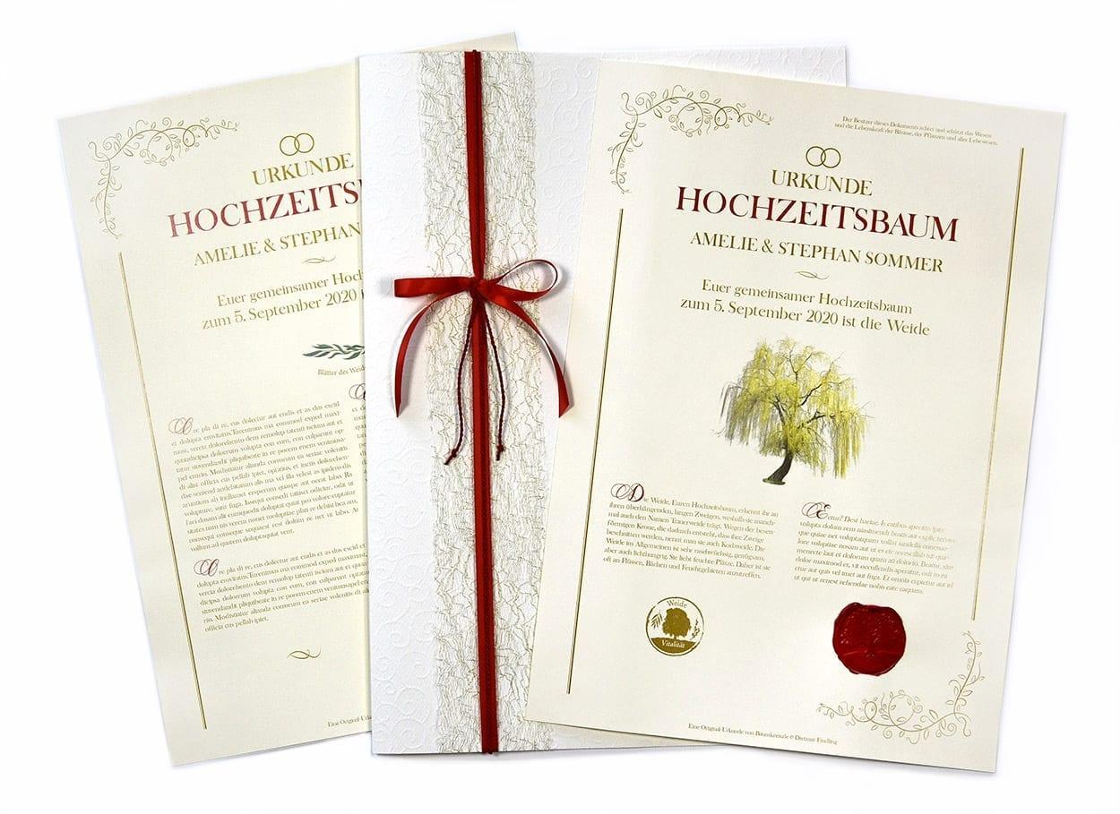 Hochzeitsbaum Urkunde mit Mappe und Siegel