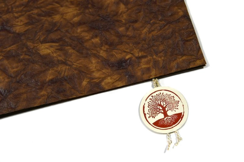 Lederkarton Mappe mit Original Baumkreis Zertifikat