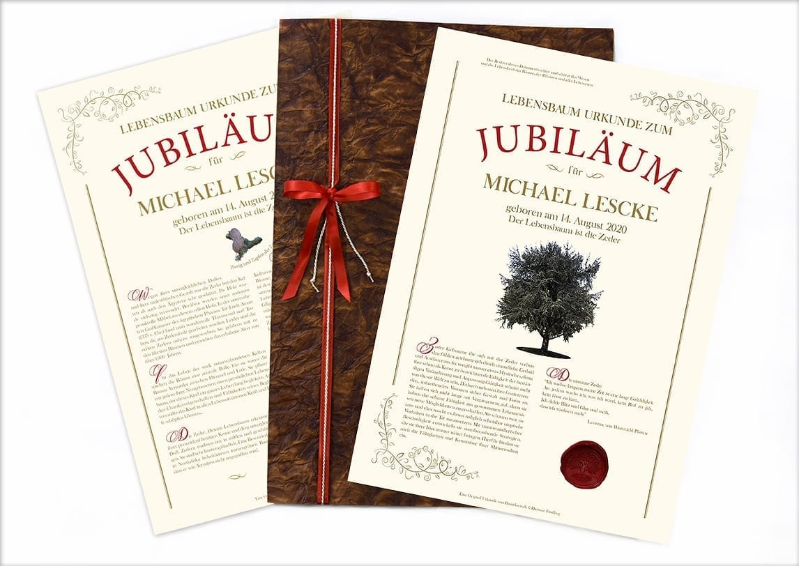 "Lebensbaum Urkunde ""Jubiläum"""