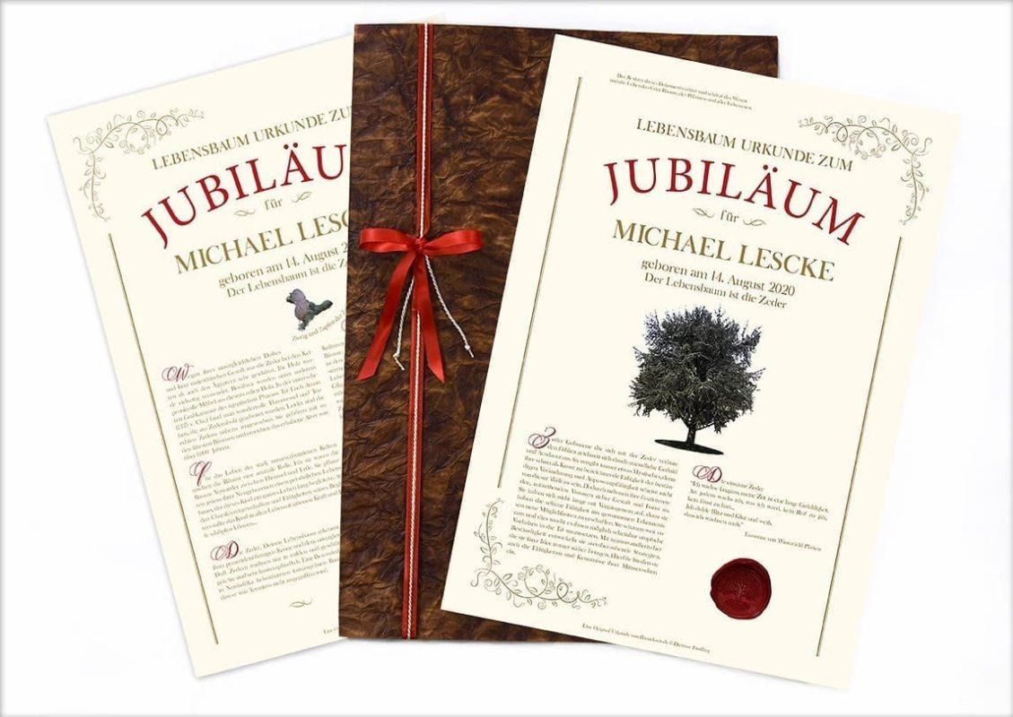 Jubiläums Urkunde mit Lederkarton Mappe